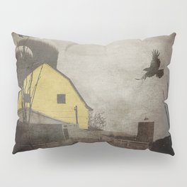 Yellow Barn on Sepia Background With Birds Flying A170 Pillow Sham