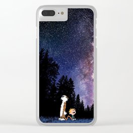 calvin and hobbes in the night large Clear iPhone Case