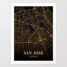 San Jose - Califonia Gold City Map Art Print