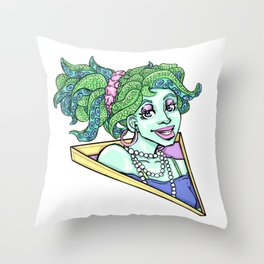 80s Octo Girl Throw Pillow