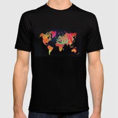 World Map Black Mens Fitted Tee X-LARGE