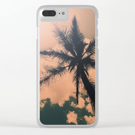 Palm Tree Turquoise Vintage Summer Beach Clear iPhone Case