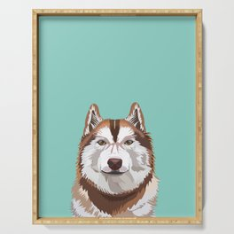 Husky red coat pet portrait art print and dog gifts Serving Tray