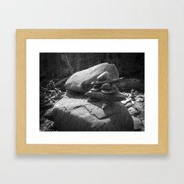 Inukshuk in the sun - Black and white Framed Art Print