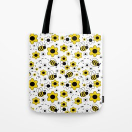 Honey Bumble Bee Yellow Floral Pattern Tote Bag
