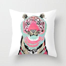 Pink Tiger Collage Throw Pillow