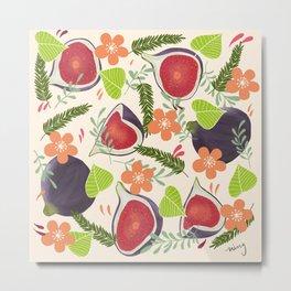 Figs & Flowers Metal Print