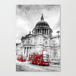 St Paul's Cathedral London Snow Canvas Print
