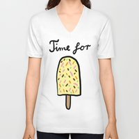 popsicle V-neck T-shirts featuring Popsicle by Ena Jurov