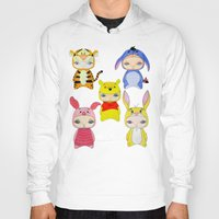 piglet Hoodies featuring A Boy - Winnie and friends by Christophe Chiozzi