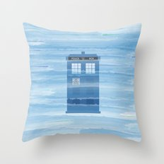 TARDIS Under the Sea - Doctor Who Digital Watercolor Throw Pillow