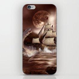 Awesome seadragon with ship iPhone Skin