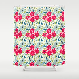 Red and Blue Floral Pattern Shower Curtain