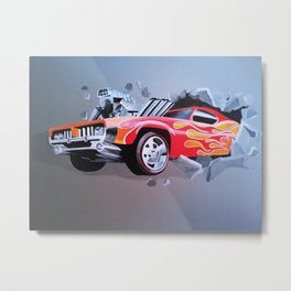 Car Crashing Through the Wall Metal Print