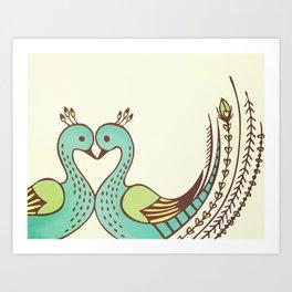 Peacock Love Art Print
