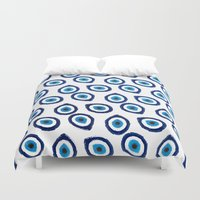 evil eye Duvet Covers featuring Evil Eye Teardrop by Katayoon Photography