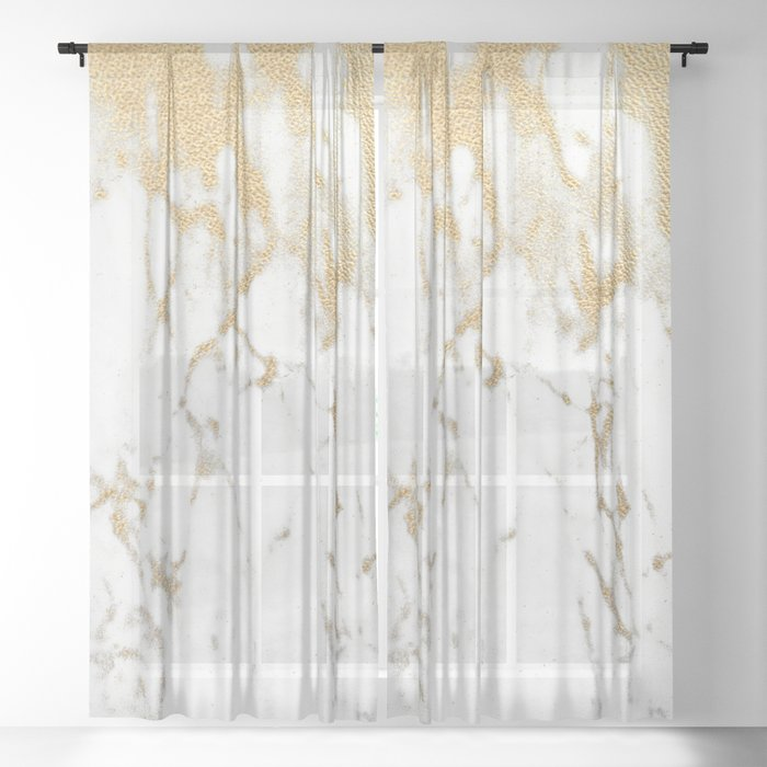 White Gold Marble Sheer Curtain