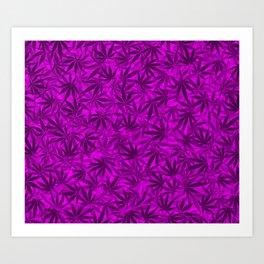 Marijuana leaves (purple) Art Print