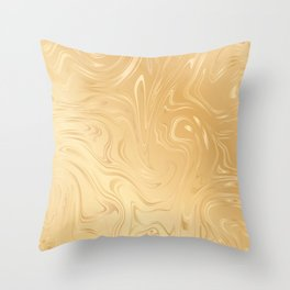 Liquid Gold Marble. Trendy golden ink marbling texture. Suminagashi art. Throw Pillow