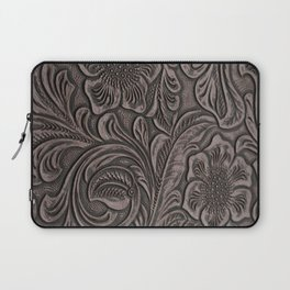Distressed Smoky Tooled Leather Laptop Sleeve