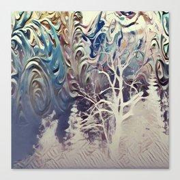 snowy mountain night Canvas Print