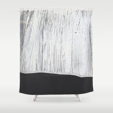 Scratched White Plaster and Charcoal Grey Lined Pattern Shower Curtain