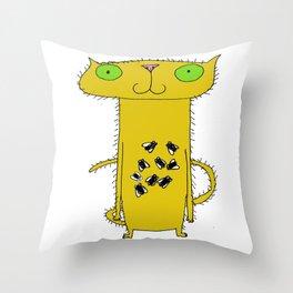This Cat Eats . . . Flies Throw Pillow