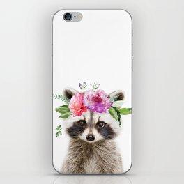 Baby Raccoon with Flower Crown iPhone Skin
