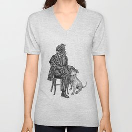 Cthulhu and His Dog Unisex V-Neck