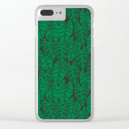 Elephant Ear house plant tropical garden green minimal pattern Clear iPhone Case