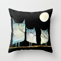 owls Throw Pillows featuring Owls by Brontosaurus