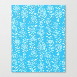 wonky wildflower waterfall in aqua Canvas Print