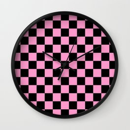 Pink and Black Check - more colors Wall Clock