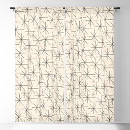 Stella - Atomic Age Mid Century Modern Starburst Pattern in Charcoal Gray and Almond Cream Blackout Curtain