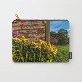 Yellow Flowers - Red Barn Carry-All Pouch