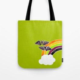 Halloween Rainbow on Lime Tote Bag