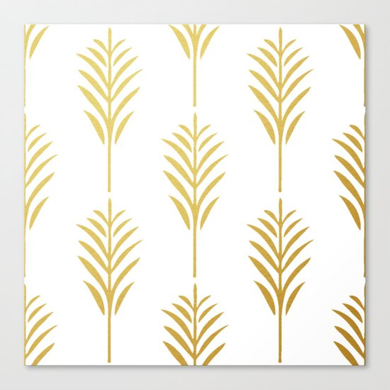 Golden Palm Leaves on White Canvas Print