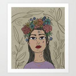 Trying - Purple, Girl Portrait,  Flower  Illustration Art Print