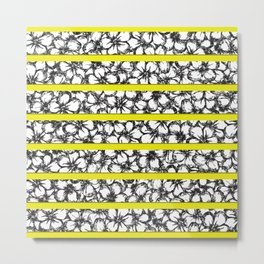 Bold Girly Hand Drawn Flowers on Neon Yellow Metal Print