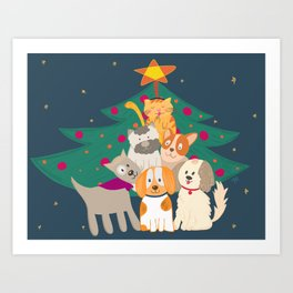 Paw-fect Christmas Art Print