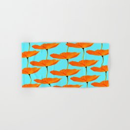Poppies On A Turquoise Background #decor #society6 #buyart Hand & Bath Towel