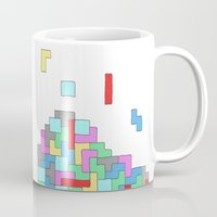 tetris Mugs featuring Tetris by #dancingpenguin