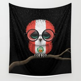 Baby Owl with Glasses and Peruvian Flag Wall Tapestry