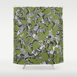 woodland fox party green Shower Curtain