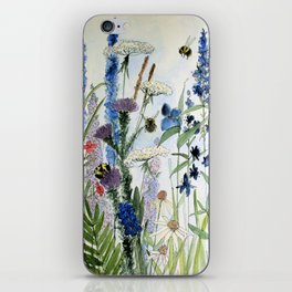 Wildflower in Garden Watercolor Flower Illustration Painting iPhone Skin