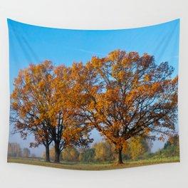 Oaks in the misty Autumn morning (Golden Polish Autumn) #2 Wall Tapestry