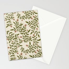 Peach & Leaves Botanical Pattern  Stationery Cards