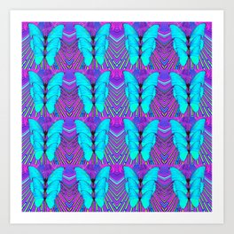 MODERN ART NEON BLUE BUTTERFLIES SURREAL PATTERNS Art Print