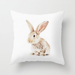 Wild Bunny Watercolor Throw Pillow