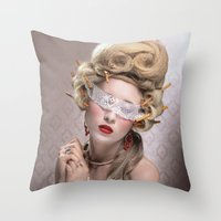 marie antoinette Throw Pillows featuring Marie Antoinette by PhoebeHofsteede